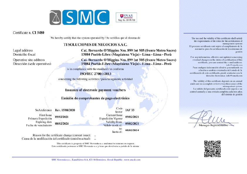 Certificado ISO 27001 1